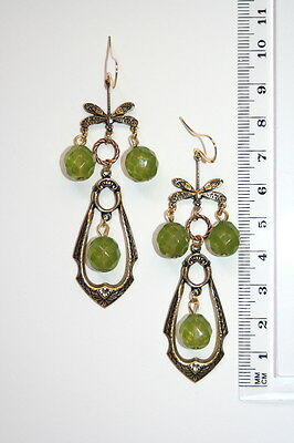 Nouveau Dragonfly Vintage Czech Olive green opaline glass long earrings