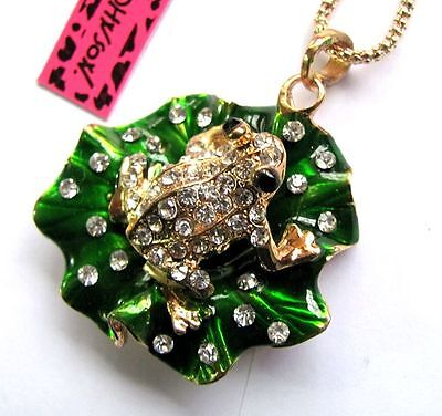 Free Ship!Betsey Johnson bright crystal Lotus leaf/frog pendant Necklace#382L