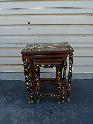 50057 Set 3 Oriental Lamp Table Stand s with Bird Figure design