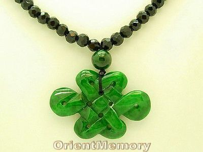 Faceted Onyx with Green Jade Mystic Knot Necklace - Romance Luck