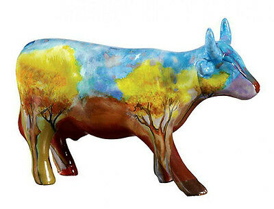 * New COW PARADE Figurine VACA DO CERRADO Medium Staute AUTUMN LEAVES PAINTING