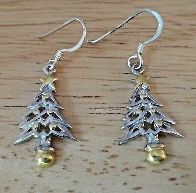 Sterling Silver w gold color 24x13mm Christmas Tree Star 13mm long Wire Earrings