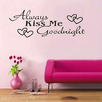 """Always Kiss Me Goodnight"" Home Decor Wall Sticker Decal Bedroom Vinyl Art Mural"
