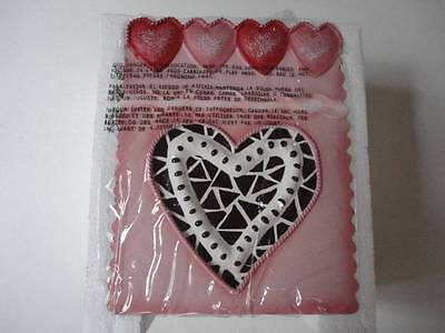 New Homco Home Interiors Decorative Metal Gift Bag Style Planter Pink Hearts