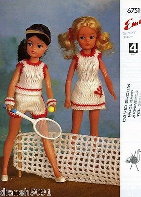 Vintage Knitting Pattern Doll Clothing For Sindy Doll Tennis Outfit