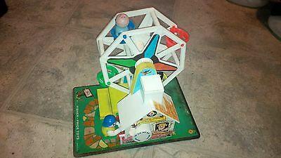 Vintage Fisher Price Ferris Wheel #969 with Hard To Find Black Dog - Works