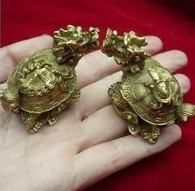 Details about  Traditional double carved exquisite old copper dragon turtle sta