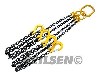 2M Hooks Heavy Duty Lifting Chain Sling 4 Ton With 4 Legs CE Approved Garage