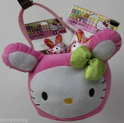 Sanrio Hello Kitty Pink Bunny with Green Bow Plush Tote Basket & 2-3 Figural Egg