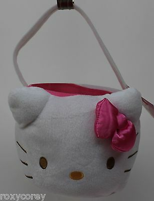 Sanrio Hello Kitty White Pink Bow Plush Tote Basket 2-3 Pack Egg Containers