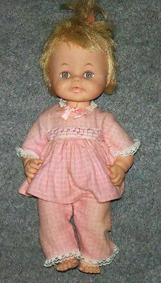 """VINTAGE 12"""" Horsman Blonde Hair Girl Doll w/ Working Pull String 2 pc Outfit"""