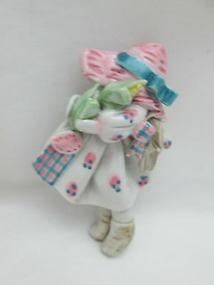 Ceramic Doll Pin / Brooch - Girl  White Pink Hat  Dress Carrying ears of Corn