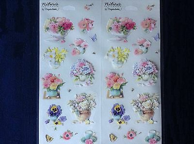 32 Clear Marjolein Bastin Flower / Floral Stickers 2 Sheets, For Card Envelopes