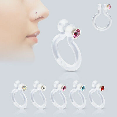 Bio-Flex Fake Non-Piercing Nose Ring with CZ - 5 Colors Available