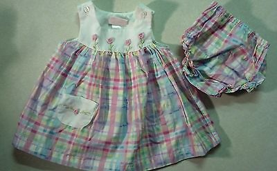 Sweet Girl's Size 6-9 M Months Pastel Colored Floral Embroidered 2 Pc Dress Set