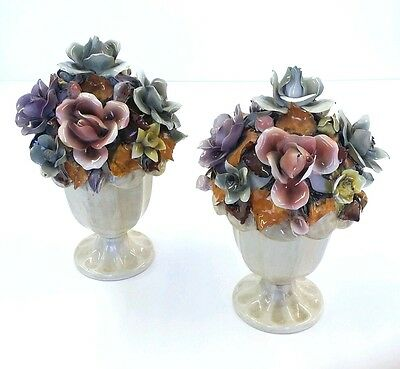 2 Vintage Italian Capodimonte Candy Dishes Italy 3439 Rose Art Pottery China