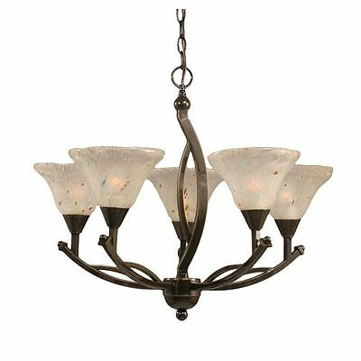 Cambridge 5-Light Oynx 23.5 in. Chandelier with Frosted Crystal Glass