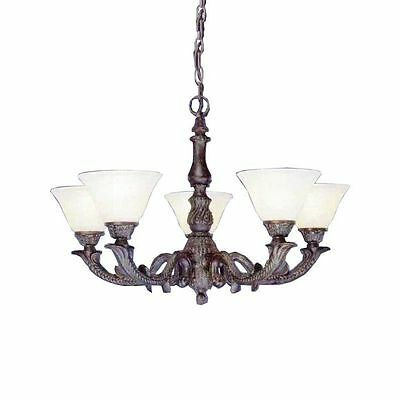 Cambridge 5-Light Bronze 26.5 in. Chandelier with Amber Crystal Glass