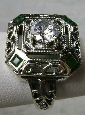 Green Emerald & White Gem 1930's Art Deco  Sterling Silver Filigree Ring size 10