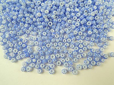 15g/.5oz tiny blue striped Czech glass seed trade beads unique tribal Africa