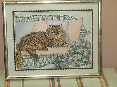 """Singed Marvetti Cultured-Ivory Engraving Etching Cat Kitten """"Princess"""" 10"""" x 8"""""""