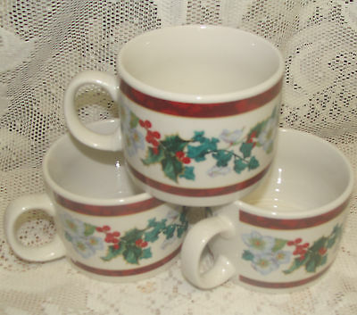 (3)  Majesticware Christmas Holly Pattern Coffee Cups