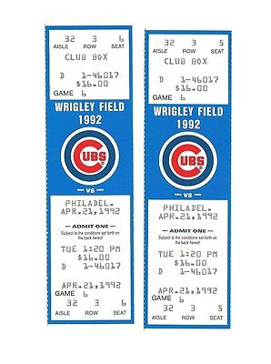 CHICAGO CUBS VS PHILADELPHIA PHILLIES UNUSED BASEBALL TICKETS FROM 4/21/1992