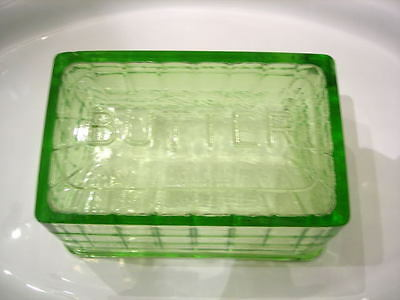 Hocking Green Block Optic One Pound Butter Dish ~ LID ONLY ~ CHIP
