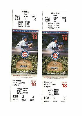 CHICAGO CUBS VS PHILADELPHIA PHILLIES UNUSED BASEBALL TICKETS FROM 4/18/2001