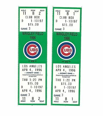 CHICAGO CUBS VS LOS ANGELES DODGERS UNUSED BASEBALL TICKETS FROM 4/4/1996