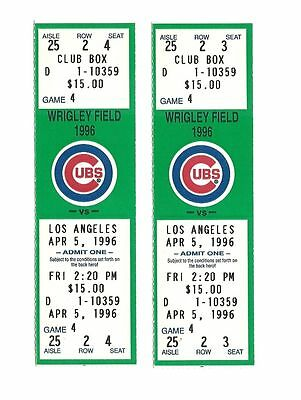 CHICAGO CUBS VS LOS ANGELES DODGERS UNUSED BASEBALL TICKETS FROM 4/5/1996