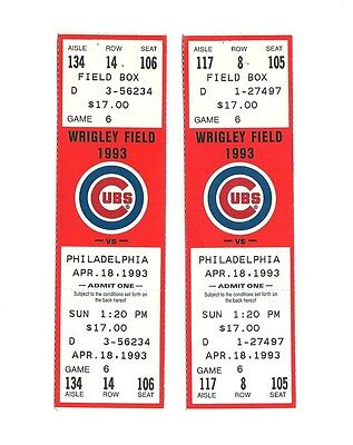 CHICAGO CUBS VS PHILADELPHIA PHILLIES UNUSED BASEBALL TICKETS FROM 4/18/1993