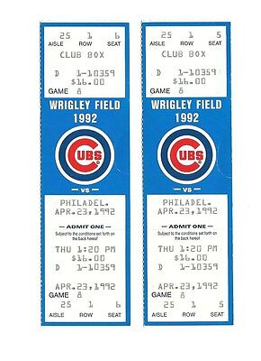 CHICAGO CUBS VS PHILADELPHIA PHILLIES UNUSED BASEBALL TICKETS FROM 4/23/1992