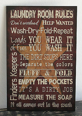 Vintage Primitive RED LAUNDRY ROOM wood sign Rustic Country Home Decor gift