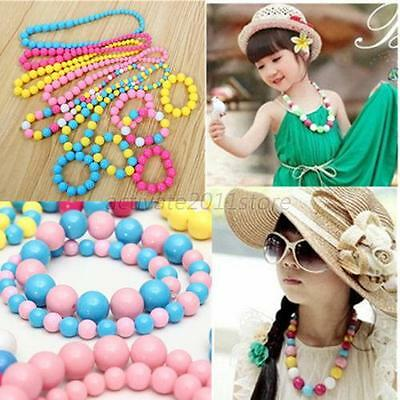 Princess Girl Kids Candy Round Beads Pearl Necklace Bracelet Jewellery Set A29
