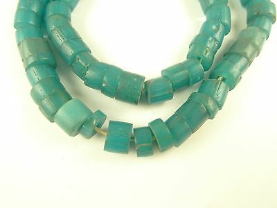 65 pcs matched sliced turquoise padre glass trade beads lovely old African