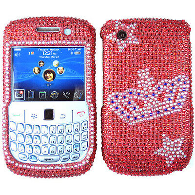 RHINESTONE BLING CRYSTAL CASE COVER FOR BLACKBERRY CURVE 8520 8530 RED SILVER