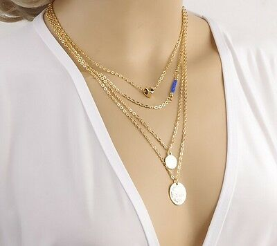 new design gold alloy hope tree Coin aesthetic pearl stick multilayer Necklace