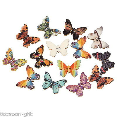 HX 100PC Wooden Buttons Butterfly Shape Mixed Color 2hole Sewing Scrapbook DIY