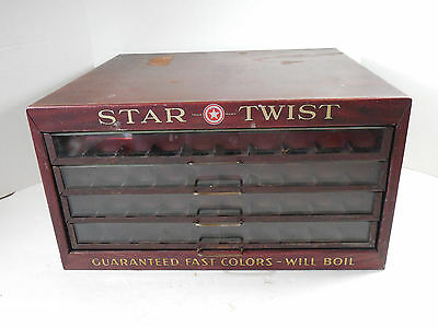 ANTIQUE STAR TWIST SEWING SPOOL THREAD STORE COUNTER DISPLAY METAL CABINET RETRO