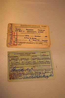 Vintage Usa Selective Service Card 1940 & Us Gov Operator's Permit Dod 1955