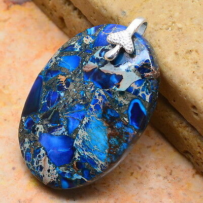 "BLUE COPPER TURQUOISE GEMSTONE 100% SOLID 925 STERLING SILVER 1 1/2"" PENDANT"