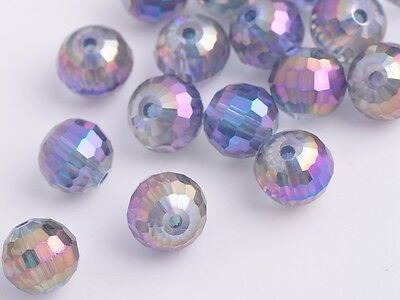 50pc 8mm 96Faceted Round Ball Glass Crystal Finding Spacer Bead Purple Colorized