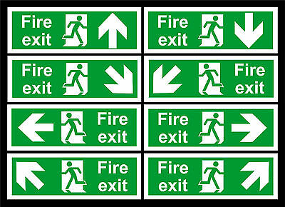 Fire Exit Signs All Directional Arrows - 100x300mm - All Materials & Sizes