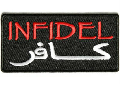 LOT OF 5 - INFIDEL ARABIC RED BIKER PATCH