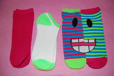 3 Pair LOT GIRLS Side by Side DESIGN SOCKS Fits Shoe Size 4-10 Striped SMILEY