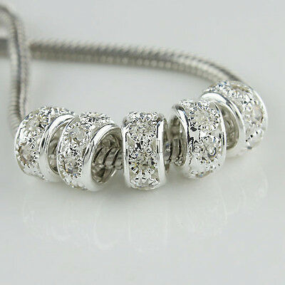 5PCS Crystal Rhinestones Pave Silver Rondelle Spacer Charm Beads Fit Bracelet