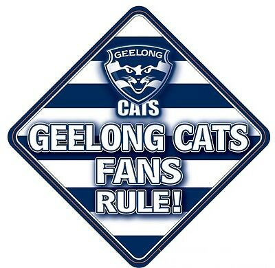 Geelong Cats AFL Team Supporters Car Sign * Geelong Fans Rule!