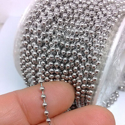 20Yards 2.4mm In Diameter Stainless Steel Ball Chain Unfinished Bulk