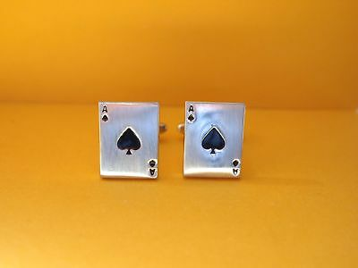 Card Suit Ace of Spades Silver Tone Metal Cufflinks Black Enamel Boxed